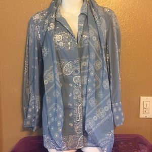 Coldwater Creek blue cotton blouse with scarf, L